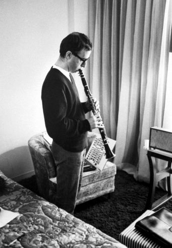 Bill Ray—Time & Life Pictures/Getty ImagesWoody Allen (better known as a stand-up comedian than a filmmaker) plays his clarinet in a Las Vegas hotel room, 1967.