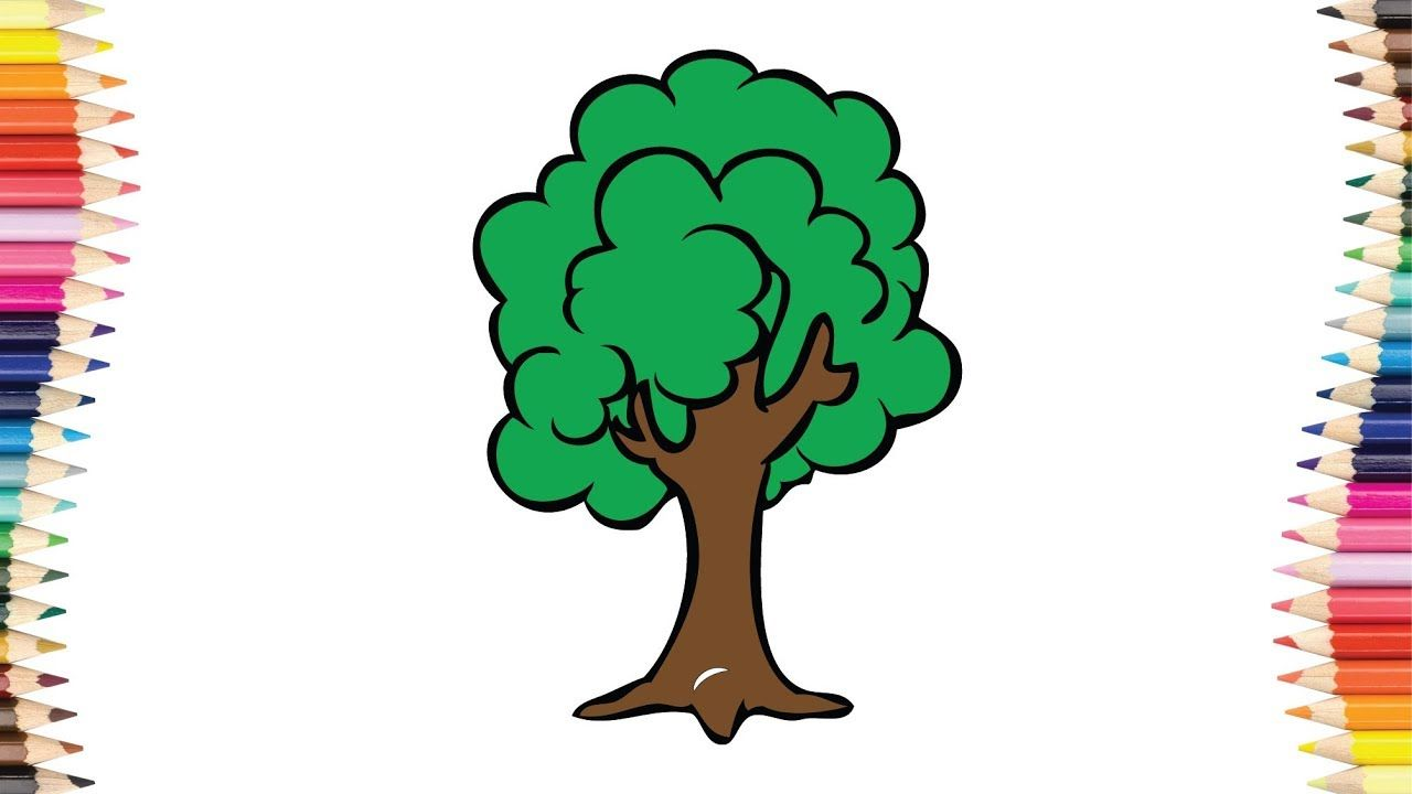 Tree coloring page - Kids coloring book - Children draw Tree | Kids ...