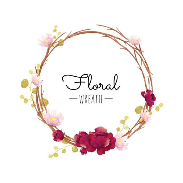 Flower Wreath Wreath Burgundy Blooming Png And Vector