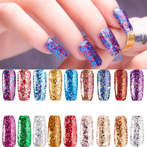 Glitter Sequins Nail Gel Polish Colorful UV LED Soak Off Colorful ...