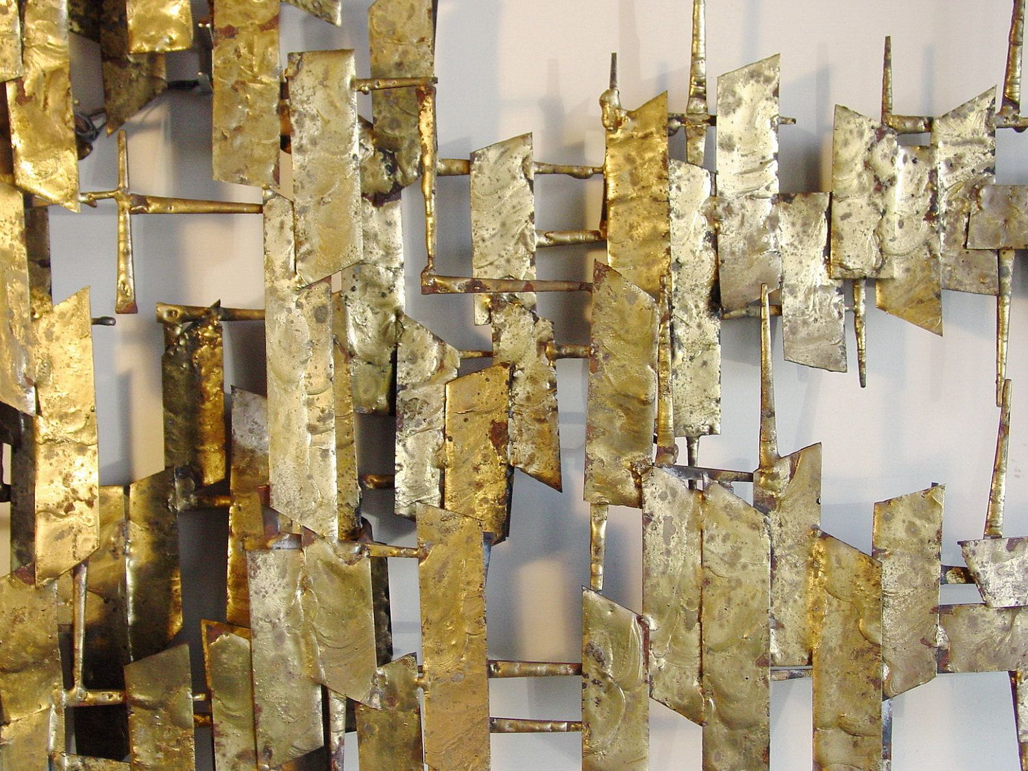 Mid Century Wall Decor Brutalist Wall Sculpture Brazed Masonry Nails And Sheet Metal