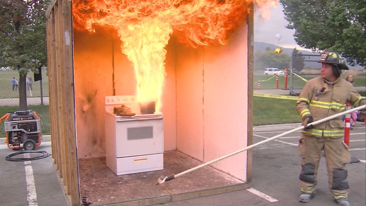 Layton firefighters demonstrate grease fire prevention