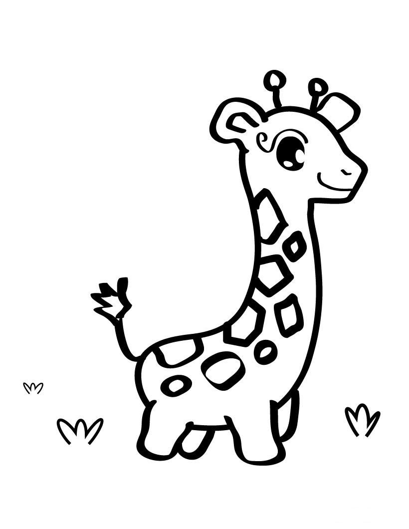 Cute Baby Giraffe Coloring Page With Images Giraffe Coloring