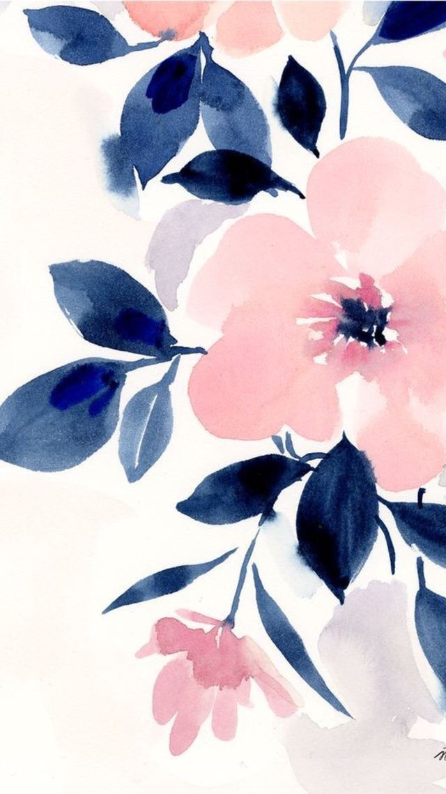 Pink and navy blue girly floral iPhone background wallpaper. #iphonebackground
