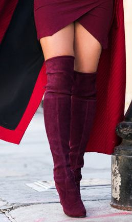 4054076abfb4 Shades of Wine    Red long coat   Burgundy boots