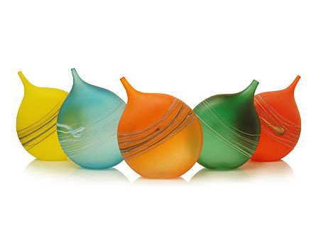 Tipped Bottles, Hand Blown Glass by David Royce
