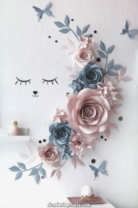 Wanddekoration Blumen Papier – Blumen Wanddekoration – Sleepy Eyes Nursery Decor – Slate Blue…