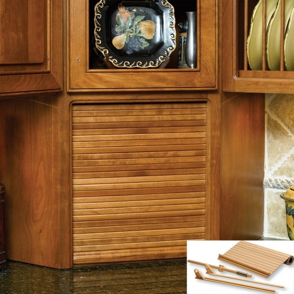 Red Oak Cabinets Kitchen: Omega National Products 30 Inch Wide Tambour Door Kit