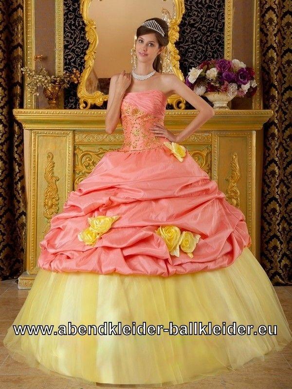 Sissi Kleid Ballkleid mit 3D Blumen in Gelb Lachs | dresses ...