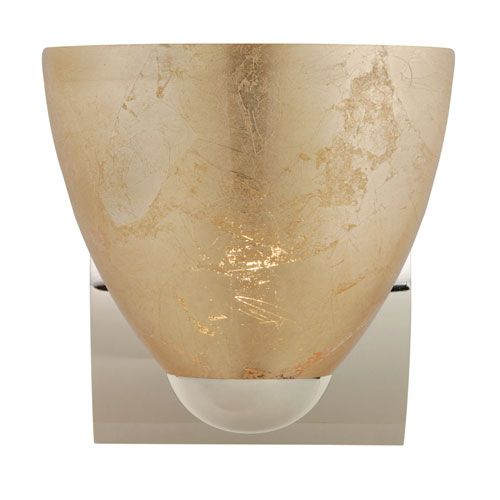 Sasha Chrome One-Light Incandescent Wall Sconce with Gold Foil Glass