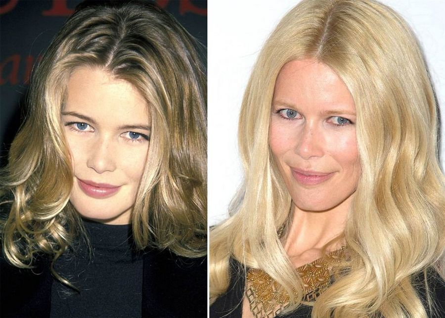 Supermodels Then And Now Allure Hair Color Supermodels Claudia Schiffer