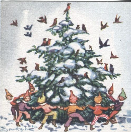 Vintage Brownie Christmas Card: Erika von Kager Elves with Tree 1949