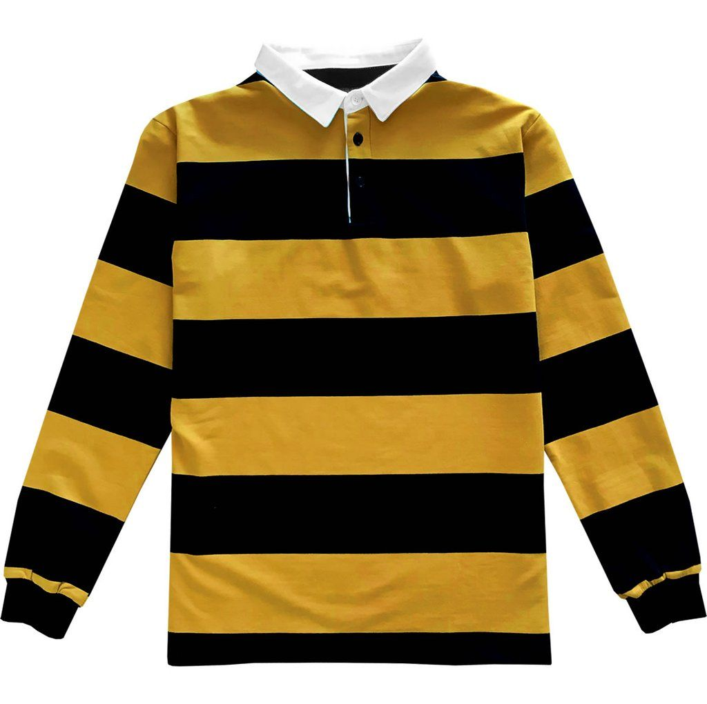 Black And Yellow Comfortable Stretch Striped Mens Rugby Shirt