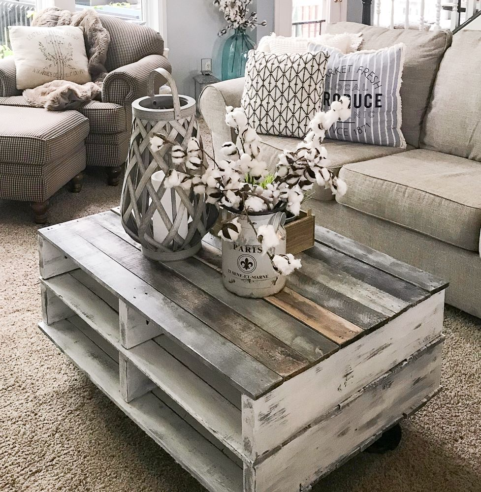 How To Make A Farmhouse Pallet Coffee Table Diy Farmhouse Coffee Table Pallet Coffee Table Diy Coffee Table Farmhouse
