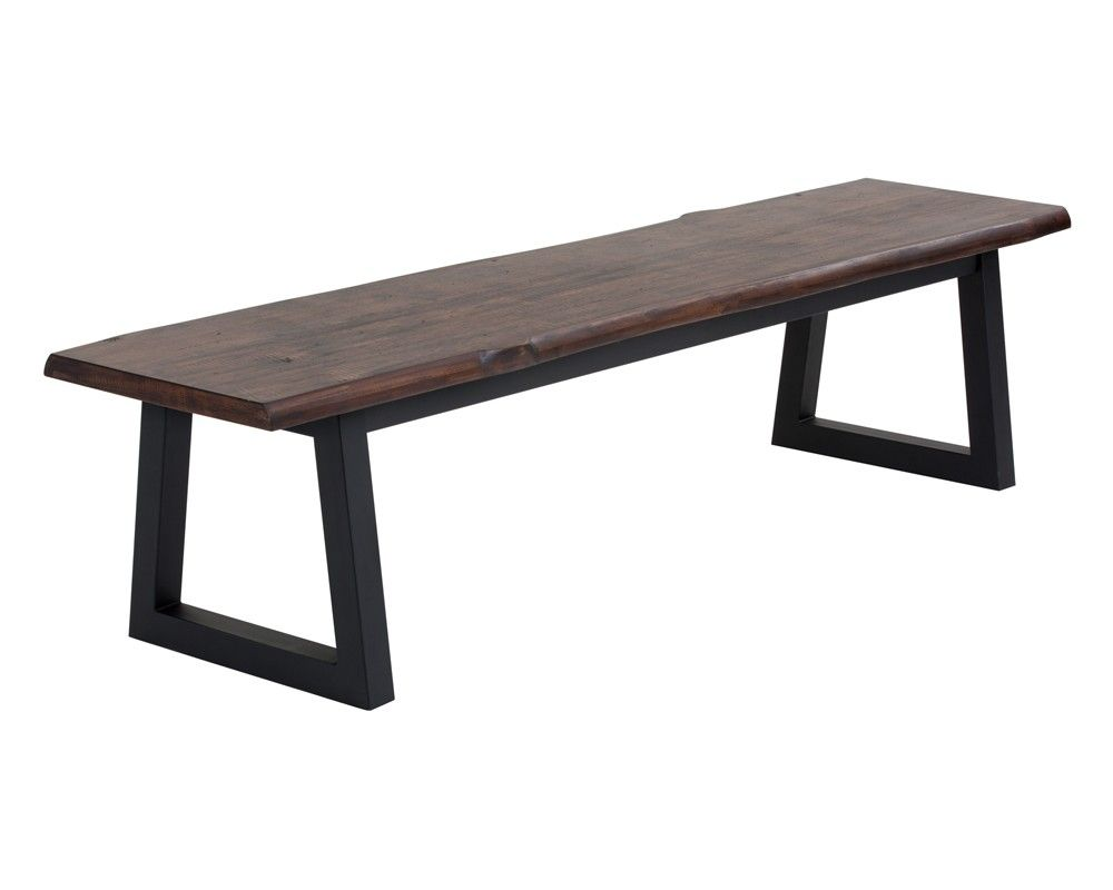 DUSTIN BENCH | This uniquely crafted bench is sure to impress alongside our Dustin dining table, or in a foyer. Featuring a solid acacia wood and wood veneer live edge look top with a black powder coated metal base.