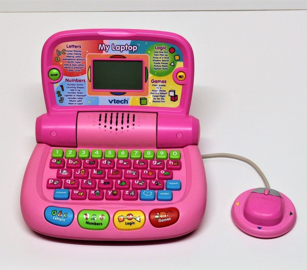 VTECH MY LAPTOP WITH MOUSE PINK COMPUTER LEARN LETTERS ...