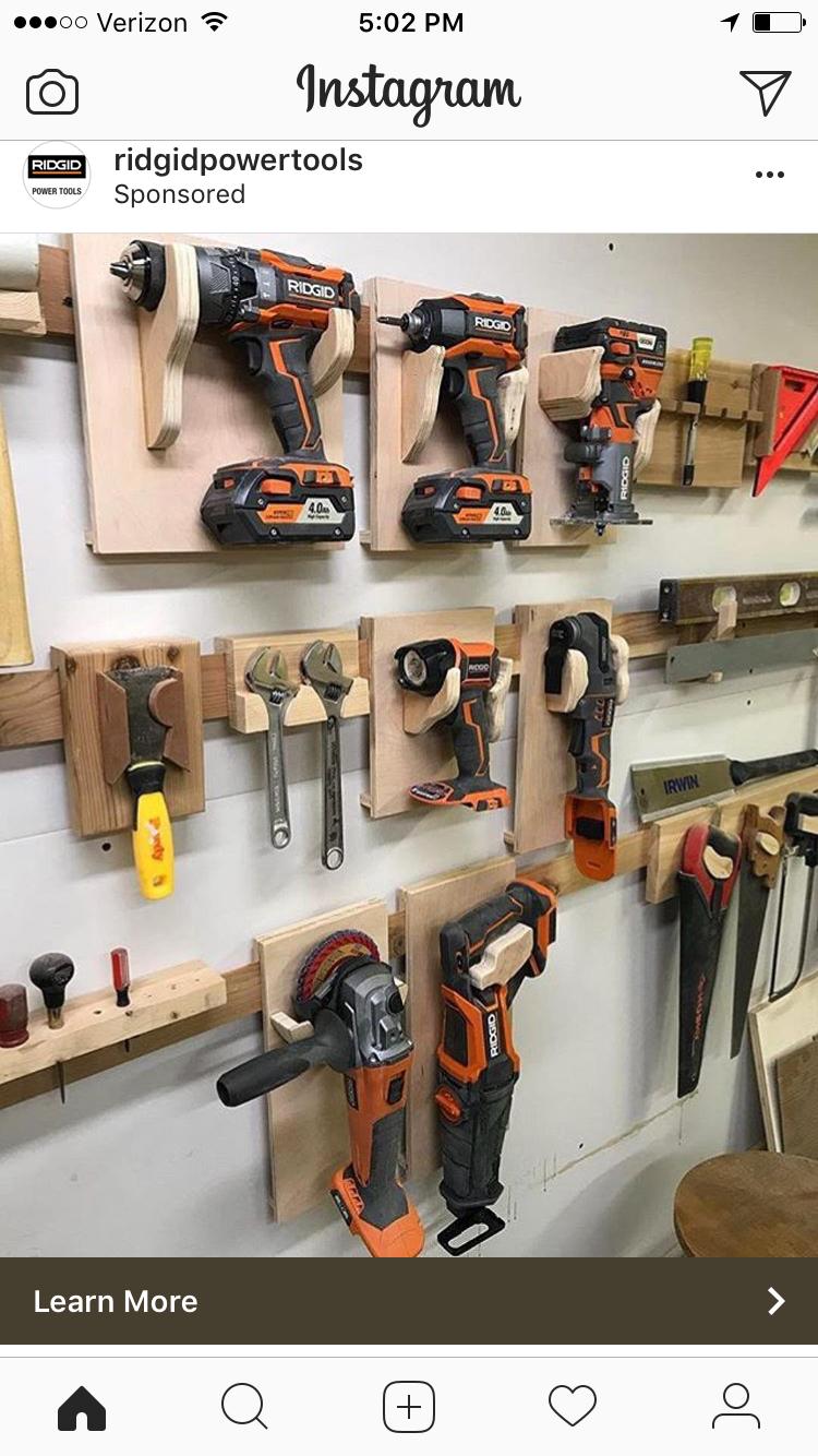 Power Tool Storage Power Tools Garage Workshop Wood Workshop Woodworking Ideas Woodworking Shop Workshop Organization Garage Organization ... & Pin by Baltasar on Estanterías | Pinterest | French cleat Cleats ...