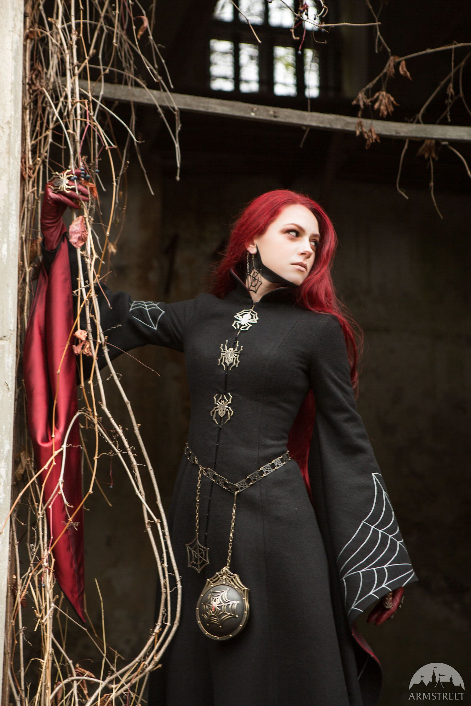 """Black """"Spiderweb"""" coat from Moonless Night collection"""
