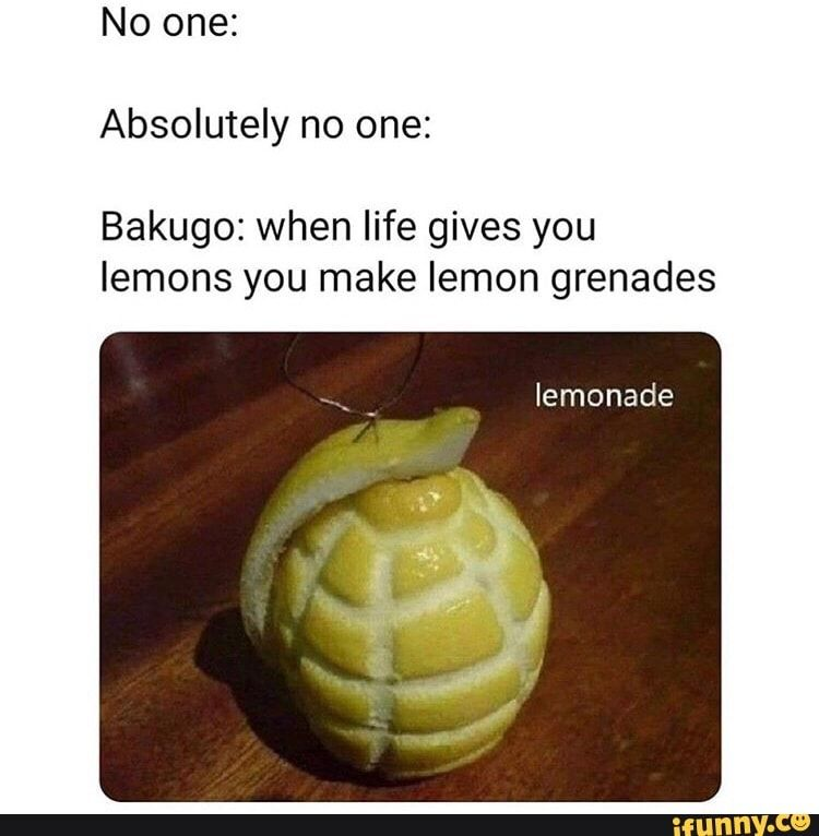 No One Absolutely No One Bakugo When Life Gives You Lemons You Make Lemon Grenades Ifunny Boku No Hero Academia Funny My Hero Academia Manga My Hero