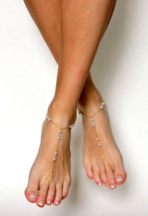 Black Barefoot Sandals Minimalist Foot Jewelry por