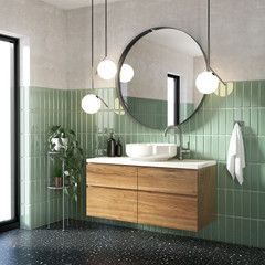 Green modern contemporary bathroom with black terrazzo floor - Buy this stock illustration and explore similar illustrations at Adobe Stock