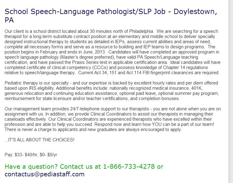 School Speech Language Pathologist Slp Job Doylestown Pa Our