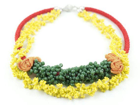 Necklace-Ethnic Handmade Crochet Beaded por PinaraDesign en Etsy