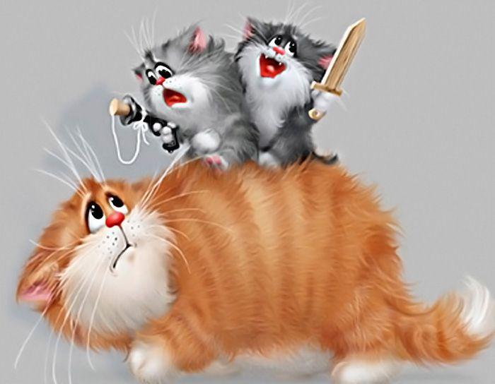 Рисунок смешных кошек новом