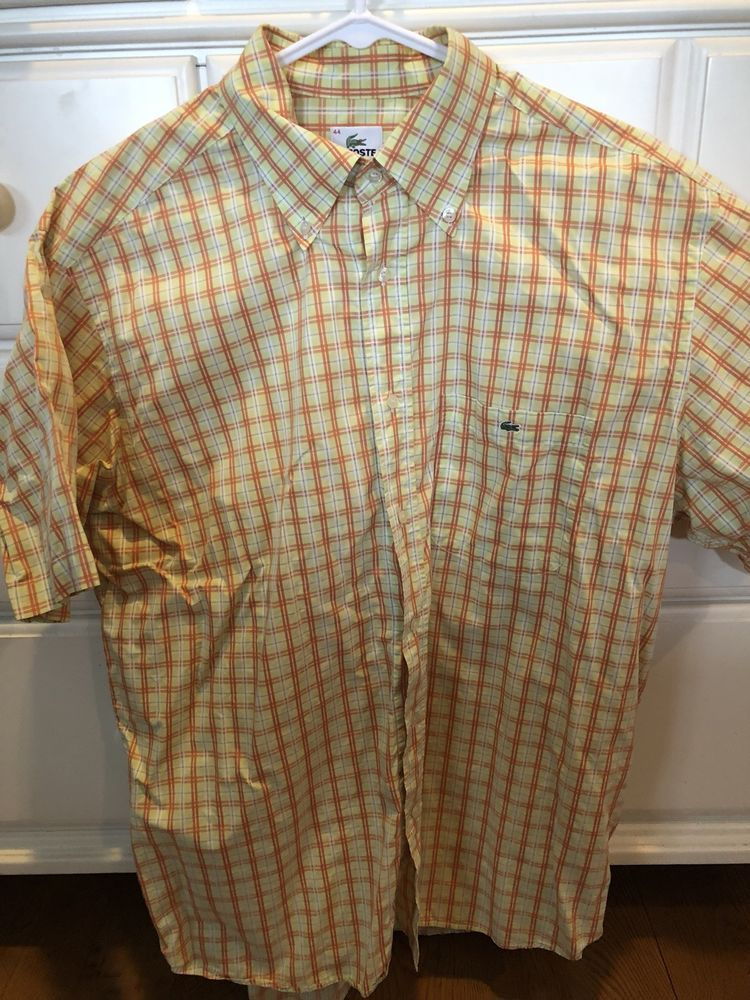 16ce5ced Mens Lacoste Short Sleeve Button Up Shirt Size 44 #fashion #clothing ...