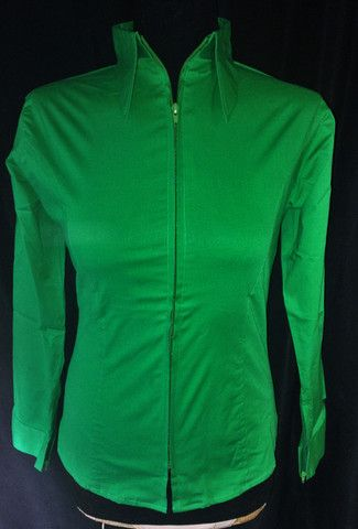 Ladies Zip Up Fitted Show Shirt - Kelly Green – The Bling Boutique