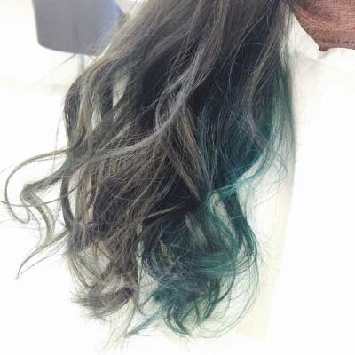 2017 緑の髪色 グラデーション アッシュ ツートーン 市販も 画像