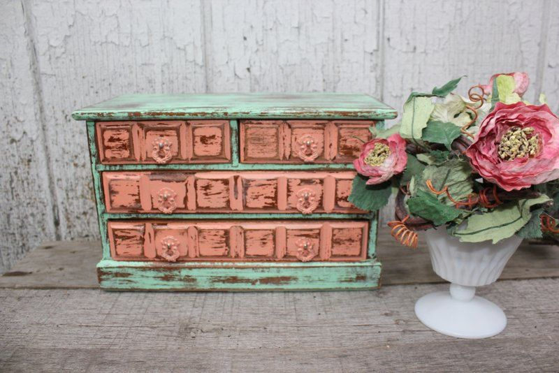 Mint Green And Coral Upcycled Jewelry Box Via Etsy