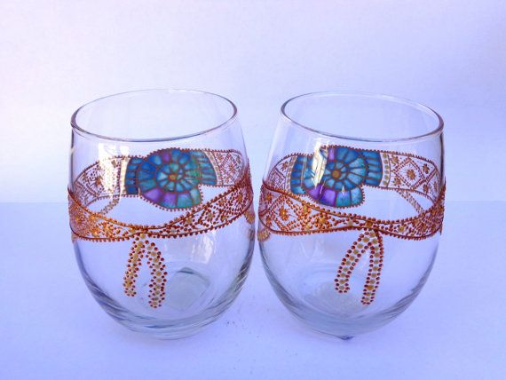 Wine/ water glasses Set of 2 Blue ammonite by OrdinaryWWonders