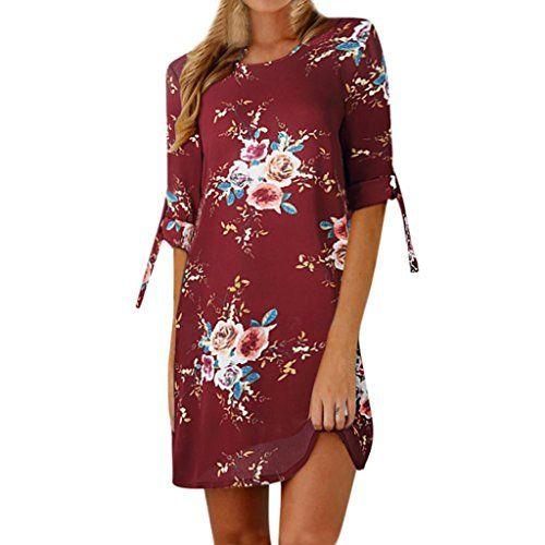 7b463d4fdebe Robes de Cocktail GreatestPAK Femmes Floral Imprimer Bowknot Manches Mini Robe  de Soirée Décontractée