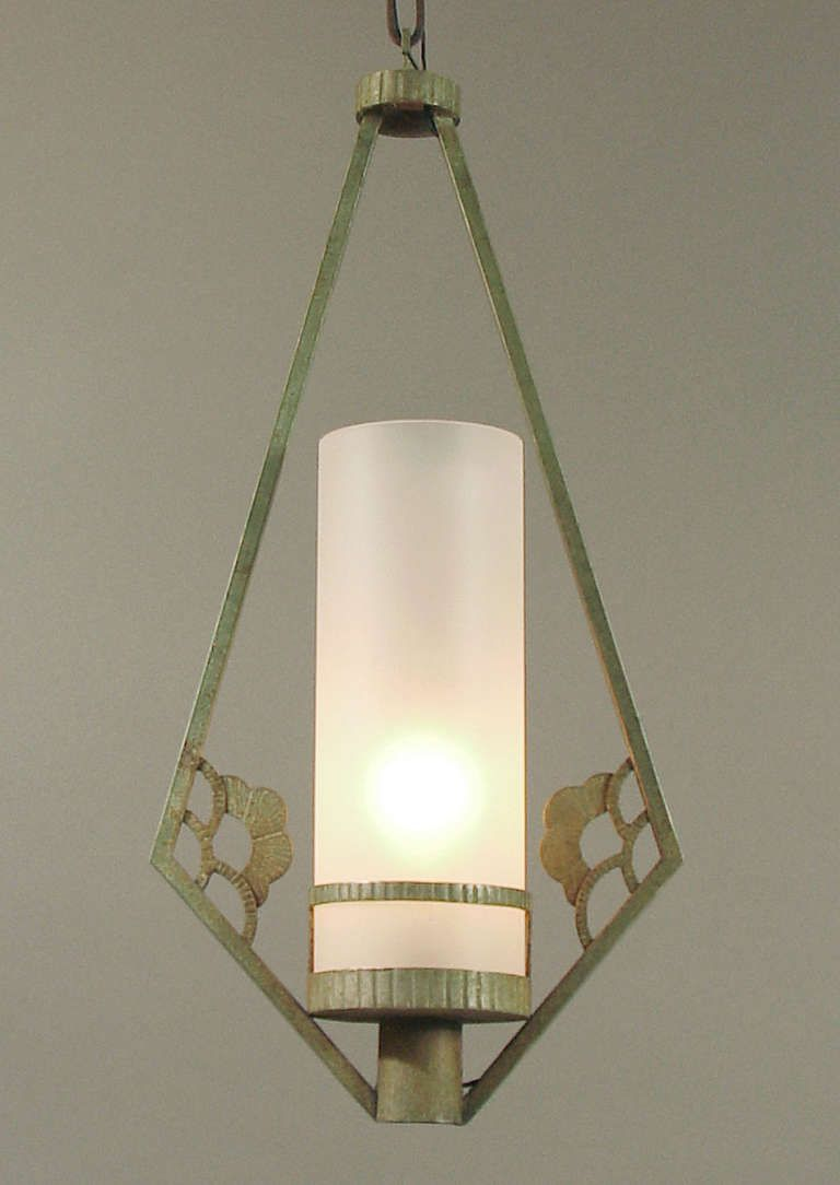 French art deco verdigris wrought iron entryway or outdoor lighting