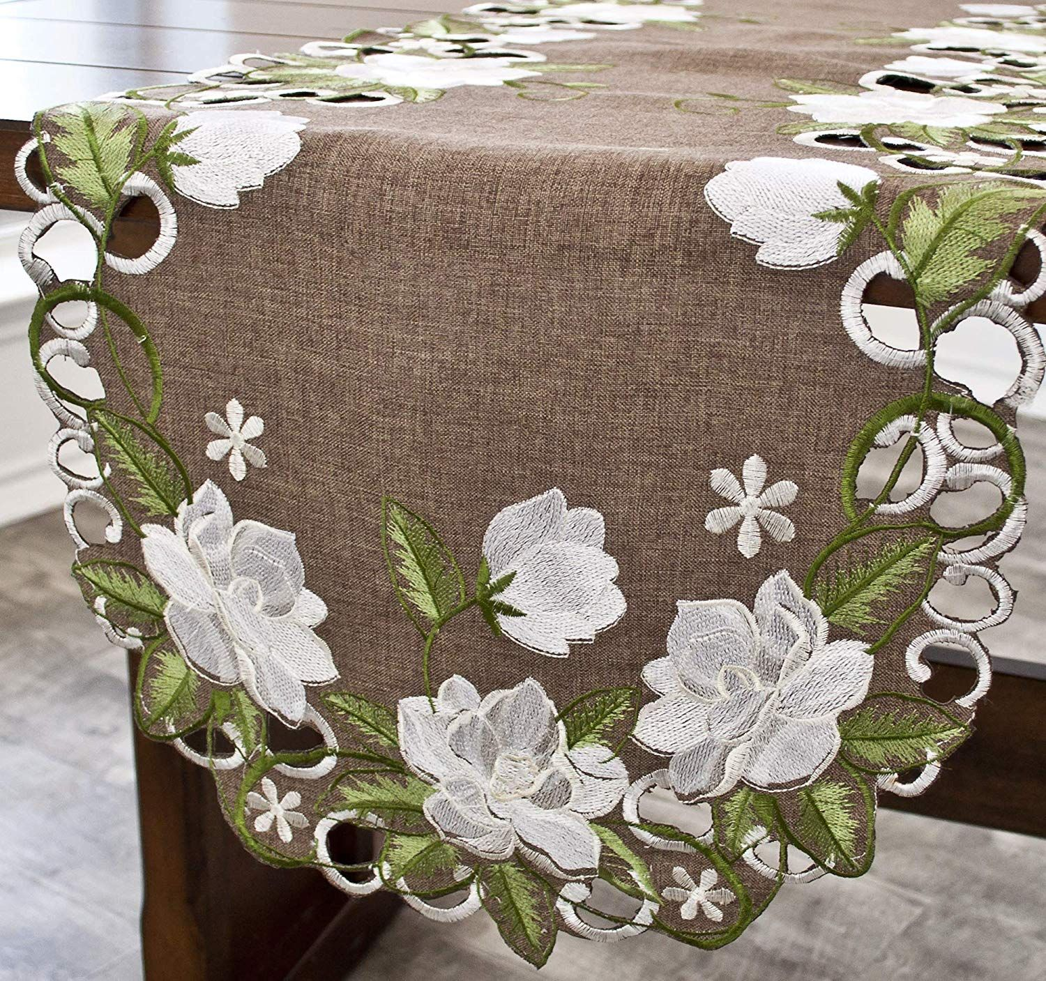 Decor Embroidered White Magnolia Floral Design Table Runner