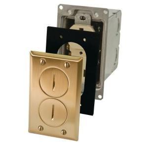 Raco 1 Gang Brass Retangular Floor Box Kit Includes 15a 125v Tr Receptacle 6500br 5 The Home Depot Floor Boxes Flooring Rectangular