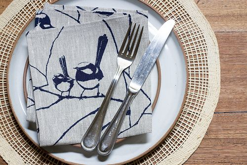 Wrens table napkin by Ink & Spindle