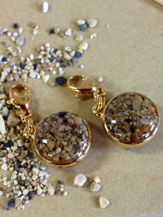 Vermeil Sandglobe Charms made with sand from Elkhart Lake, Wisconsin