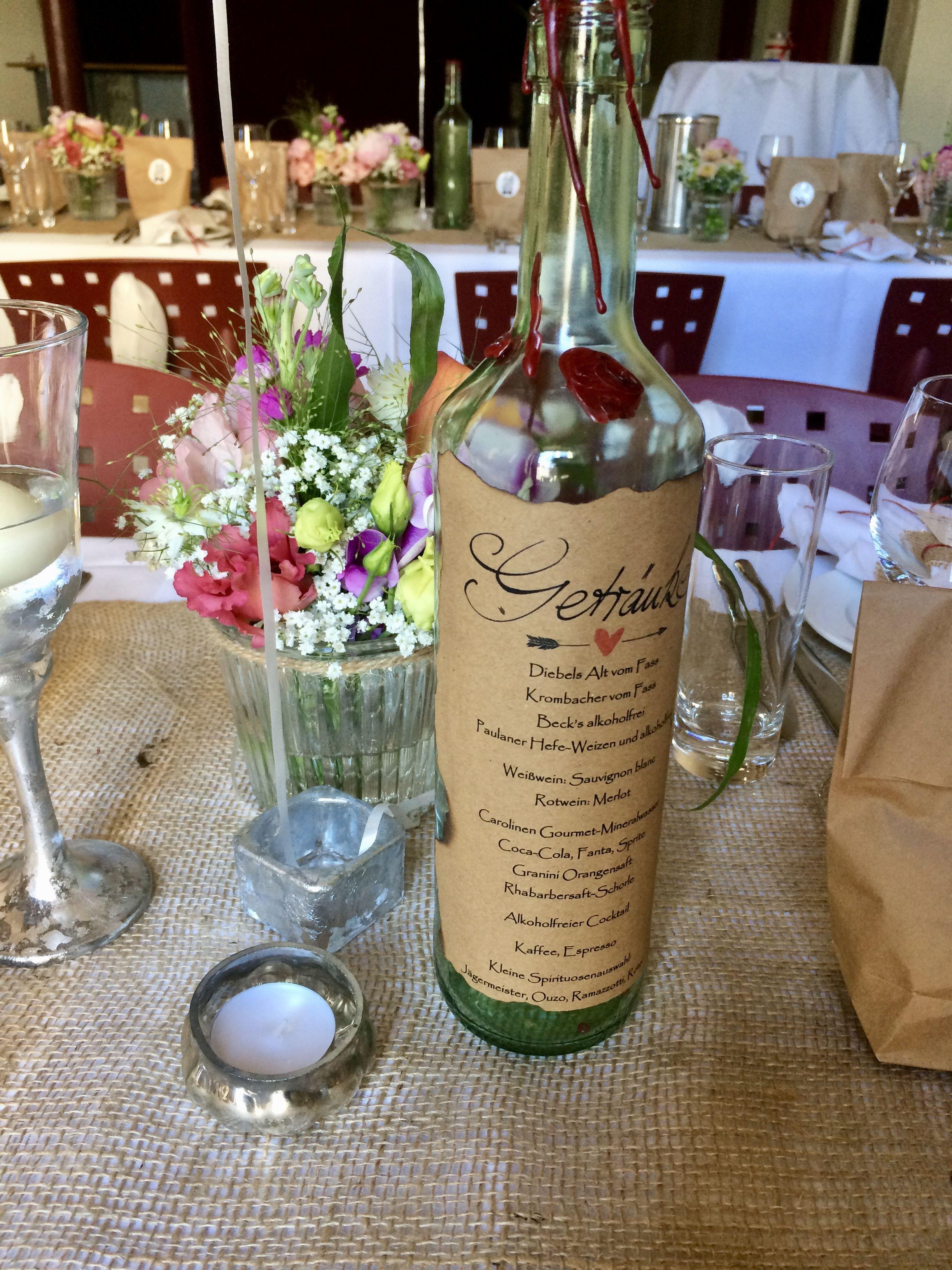 Getränkekarte auf einer Weinflasche DIY