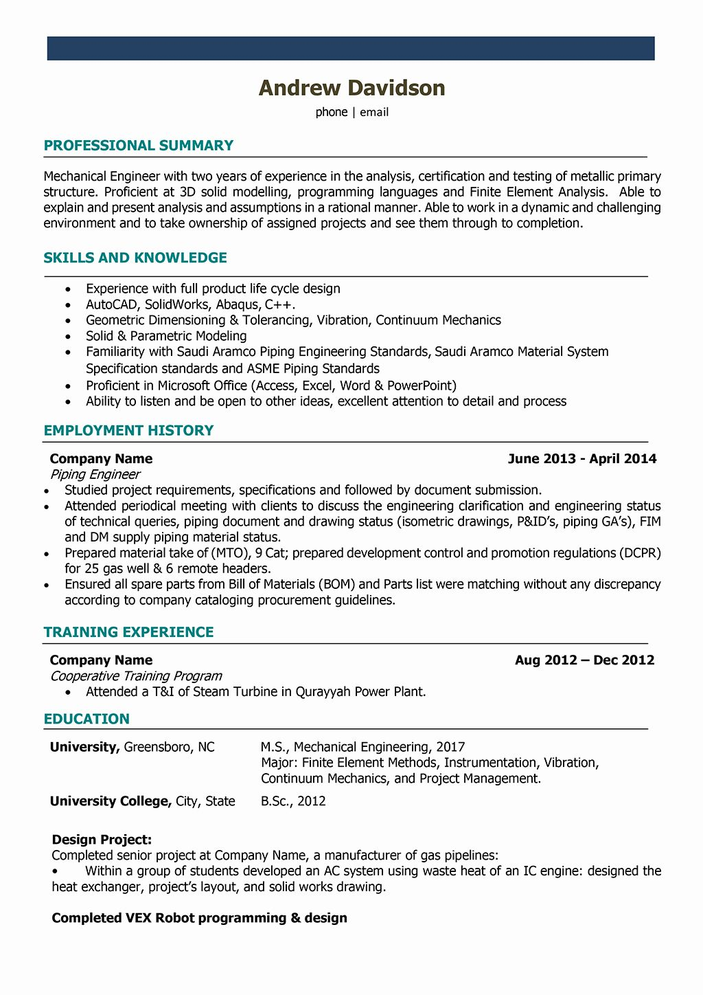 25 Mechanical Engineering Resume Templates in 2020 (With