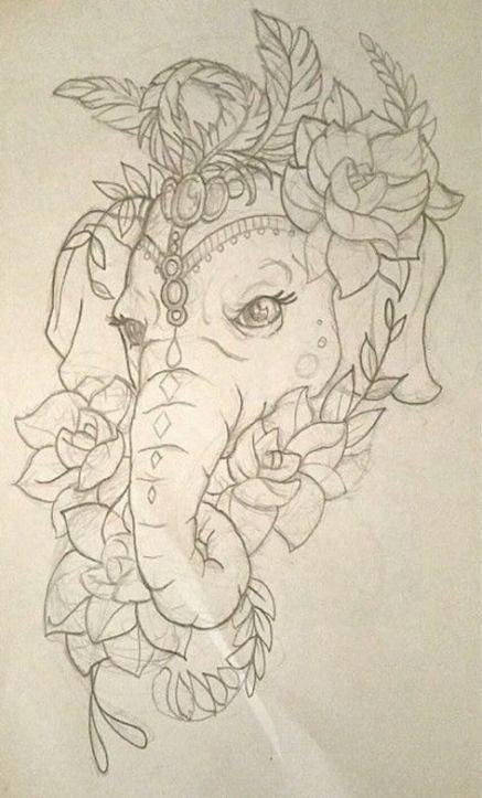 Super Tattoo Elephant Drawing Trunks 44+ Ideas