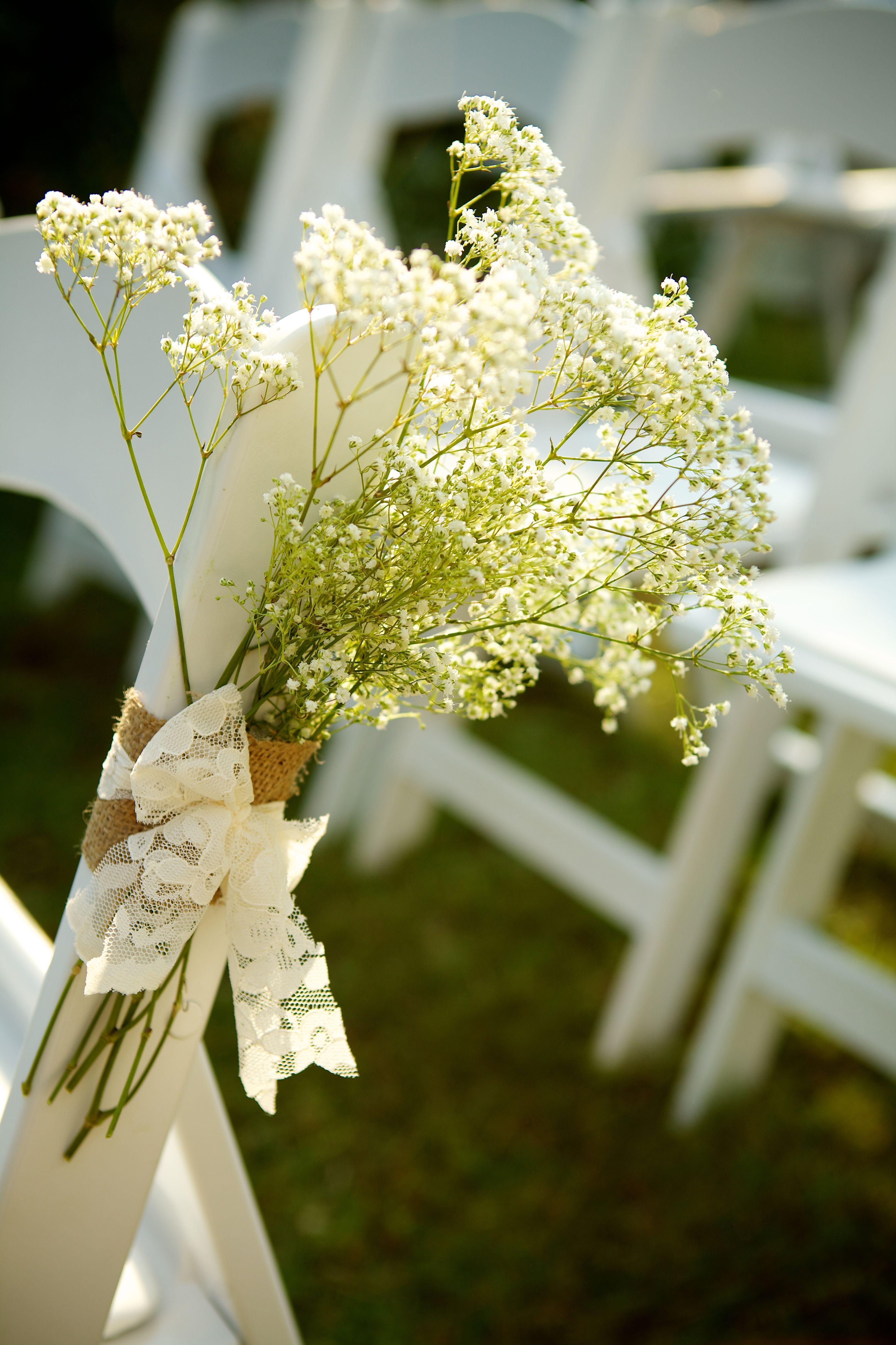 Diy babyus breath wedding aisle decor simple white wedding
