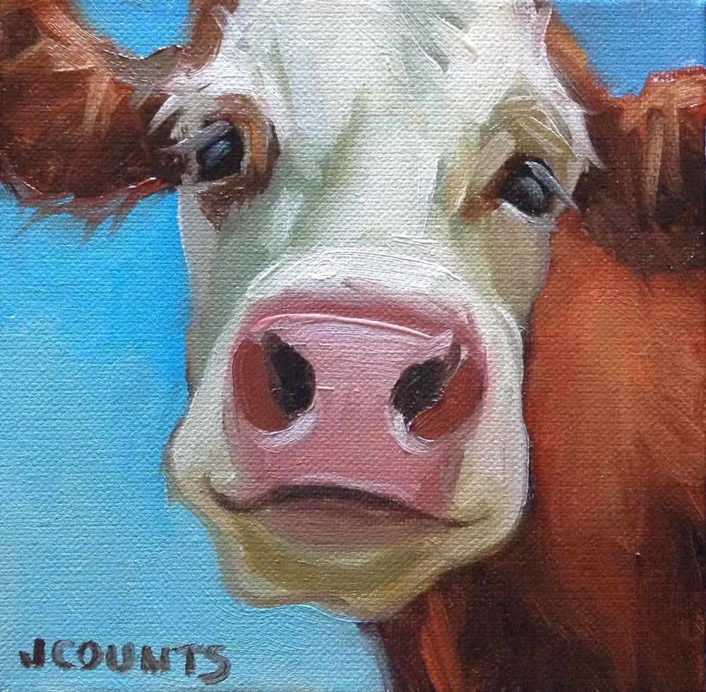 COW ART CUTE ANIMAL FARM HOME KITCHEN RESTAURANT DECOR SMALL OIL PAINTING Rascal Oil
