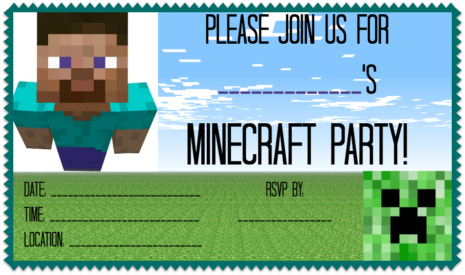 Minecraft-Party-Invite.png 947×560 pixels | TMNT Birthday Party ...