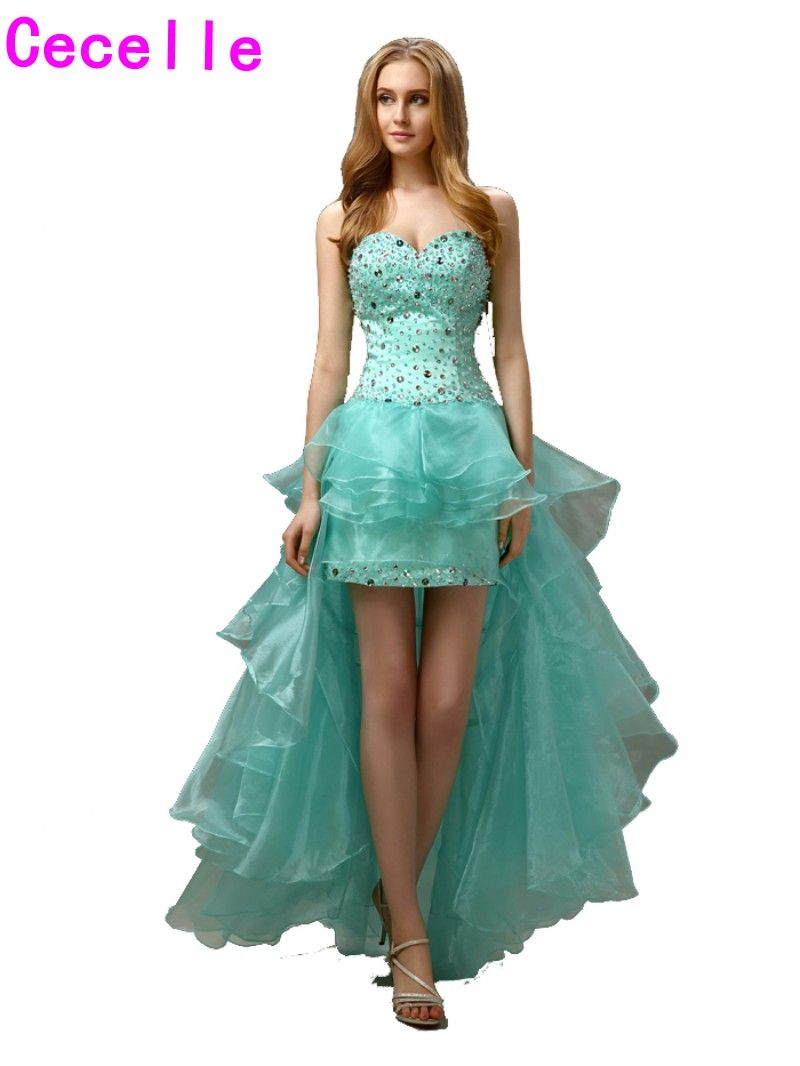 real mint high low sheath prom cocktail dresses for girls