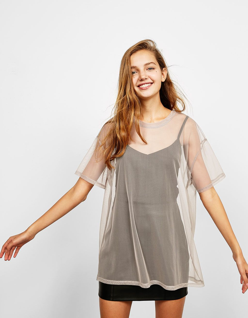 Oversized tulle T-shirt. Discover this and many more items in Bershka with  new