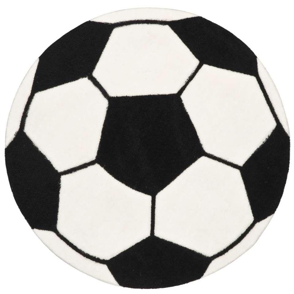 Genoeg Vloerkleed Voetbal - wit/zwart   Leen Bakker   Voetbal kamer #BU53