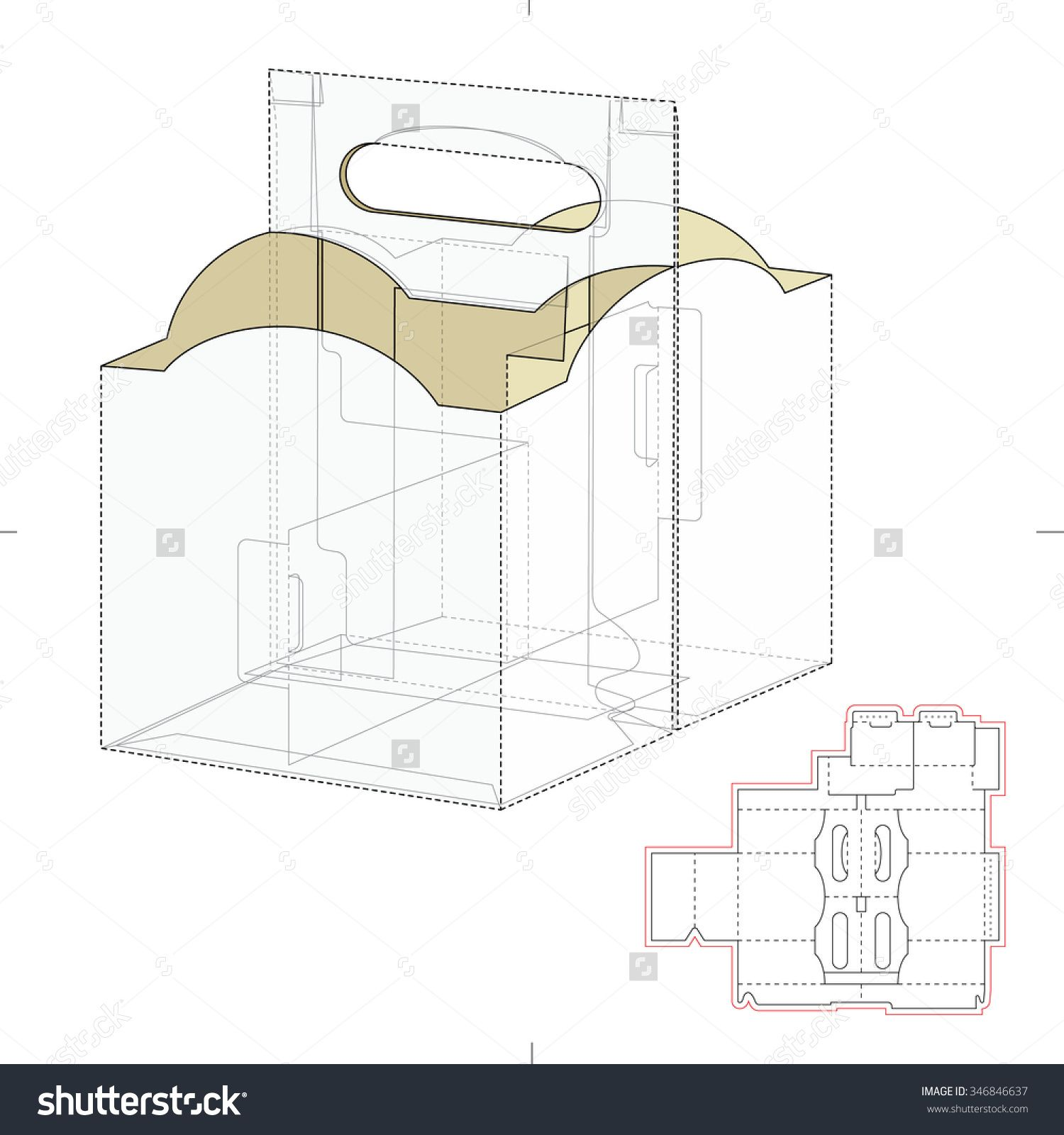 Empty Box Carrier With Dividers And Die Cut Template Stock Vector Illustration 346846637 : Shutterstock