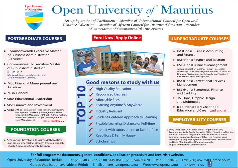 Open University Of Mauritius Enrol Now Info 403 8222 5449 0610 Business Administration Distance Education How To Apply